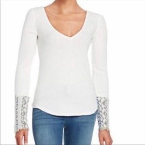 Free People Art School Cuff Thermal Top S White